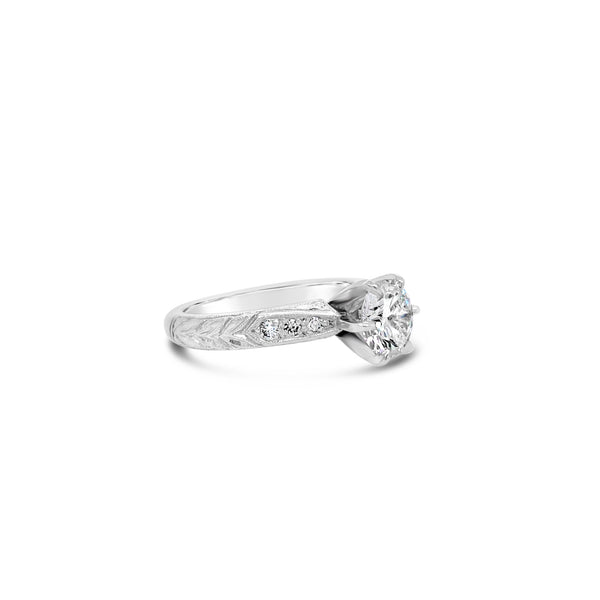 1.07 Carat Engraved Solitaire Diamond Ring