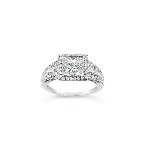 1.58 Carat Princess Cut Engagement Ring