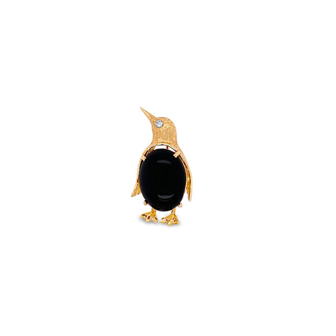 Black Onyx Penguin Pin