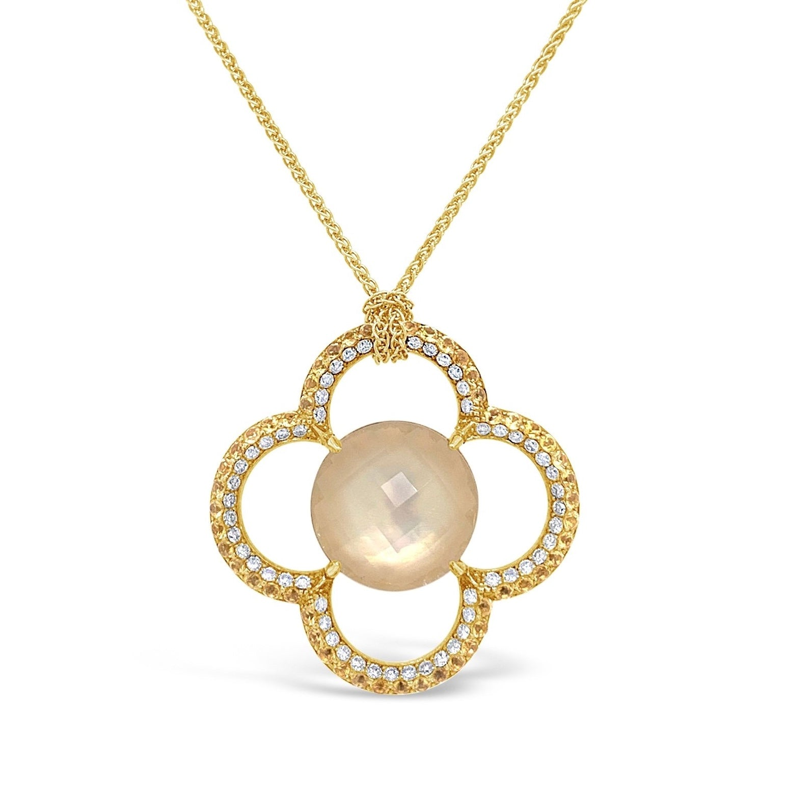 White Topaz & Yellow Sapphire Flower Necklace