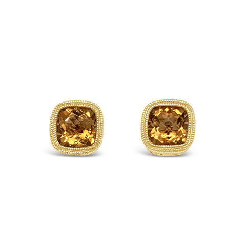 Checkerboard Citrine Studs