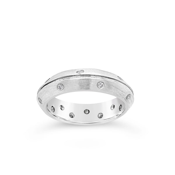 Satin Diamond Dotted Wedding Band