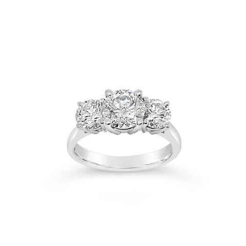 1.95 Carat Diamond Three Stone Engagement Ring