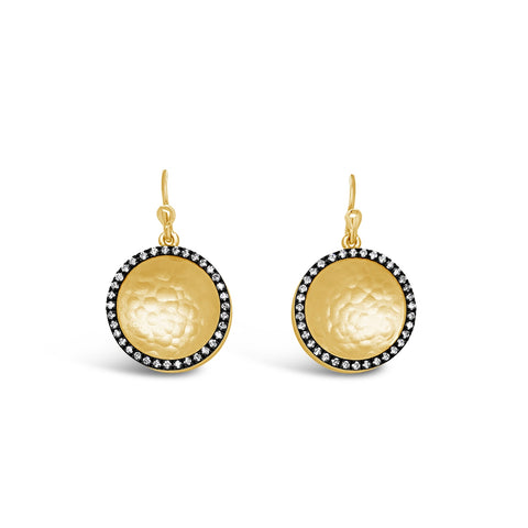 Gold & Ruthenium Diamond Circle Earrings