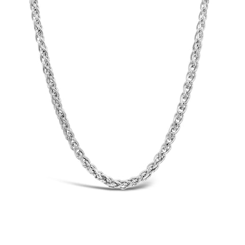 Silver Diamond Foxtail Hollow Link Necklace