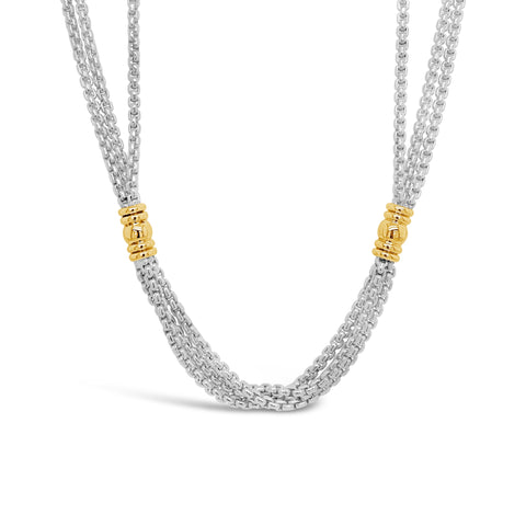 Silver & Gold 3-Strand Link Necklace