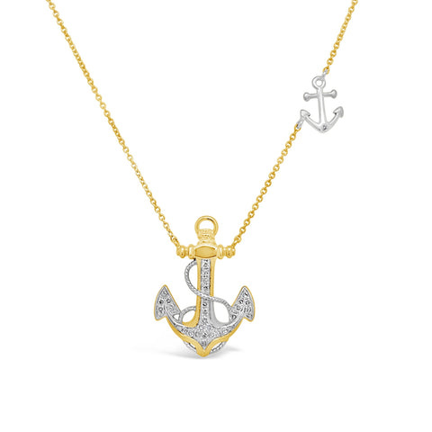 Diamond Two Tone Anchor Necklace