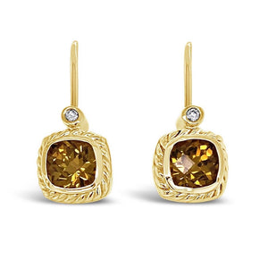 Grossular Garnet & Diamond Drop Earrings