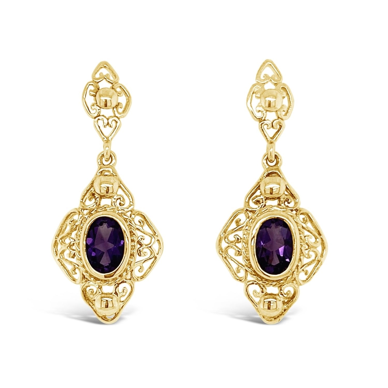 Vintage Style Amethyst Drop Earrings