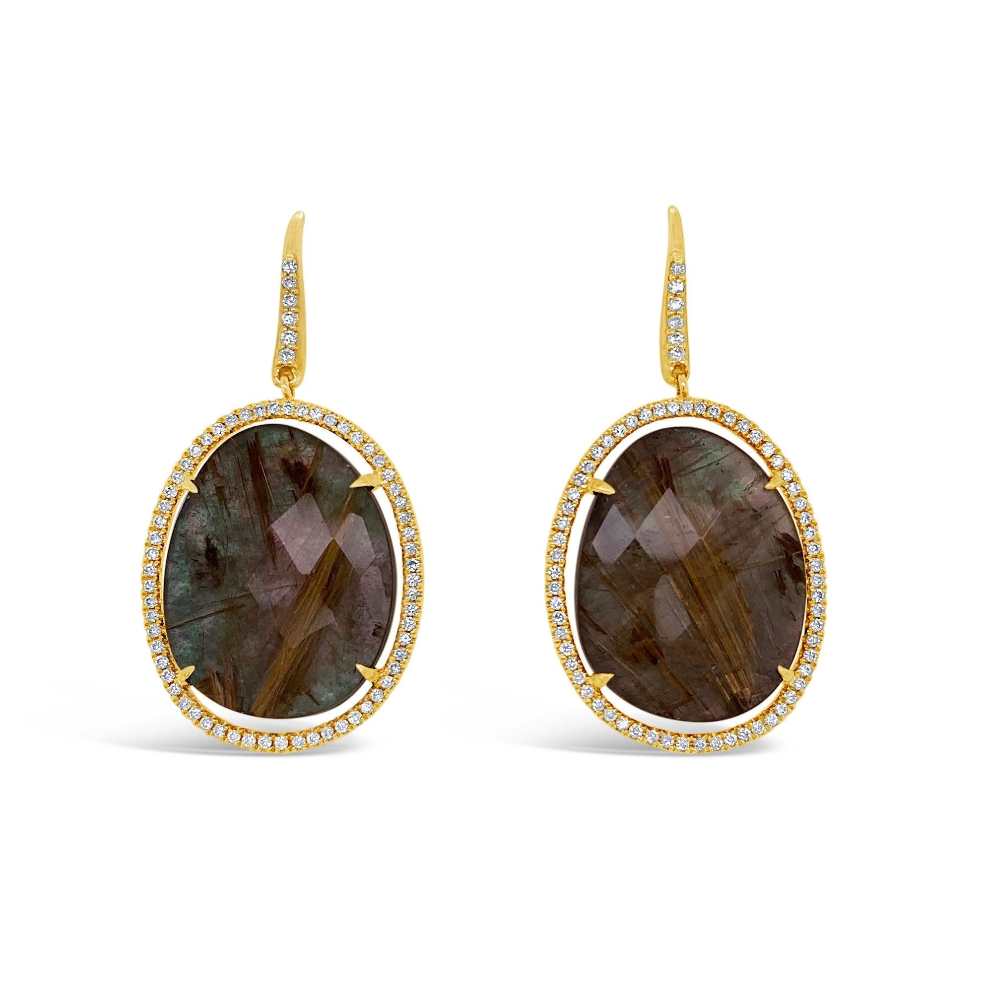 Black Mother-of-Pearl & Rutilated Quartz Earrings