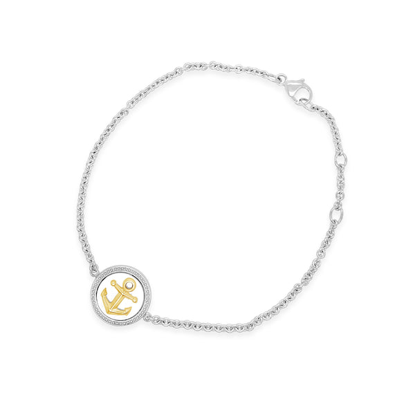 Silver & Gold Mother-of-Pearl Anchor Bracelet