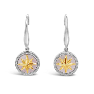 Silver & Gold Mother-of-Pearl Compass Rose Earrings
