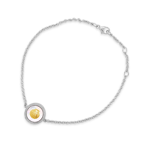 Silver & Gold Mother-of-Pearl Scallop Bracelet