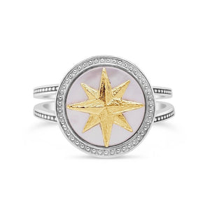 Silver & Gold Mother-of-Pearl Compass Rose Ring