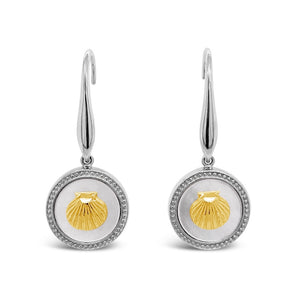 Silver & Gold Mother-of-Pearl Scallop Shell Earrings