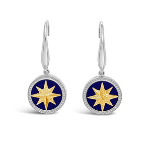 Silver & Gold Lapis Compass Rose Earrings