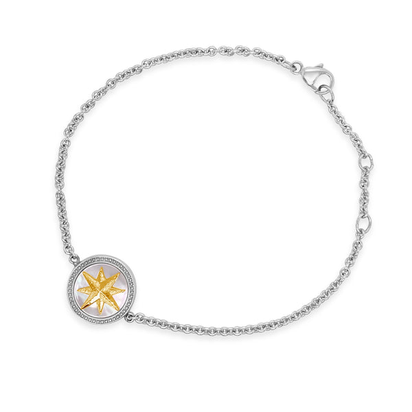 Silver & Gold Mother-of-Pearl Compass Bracelet