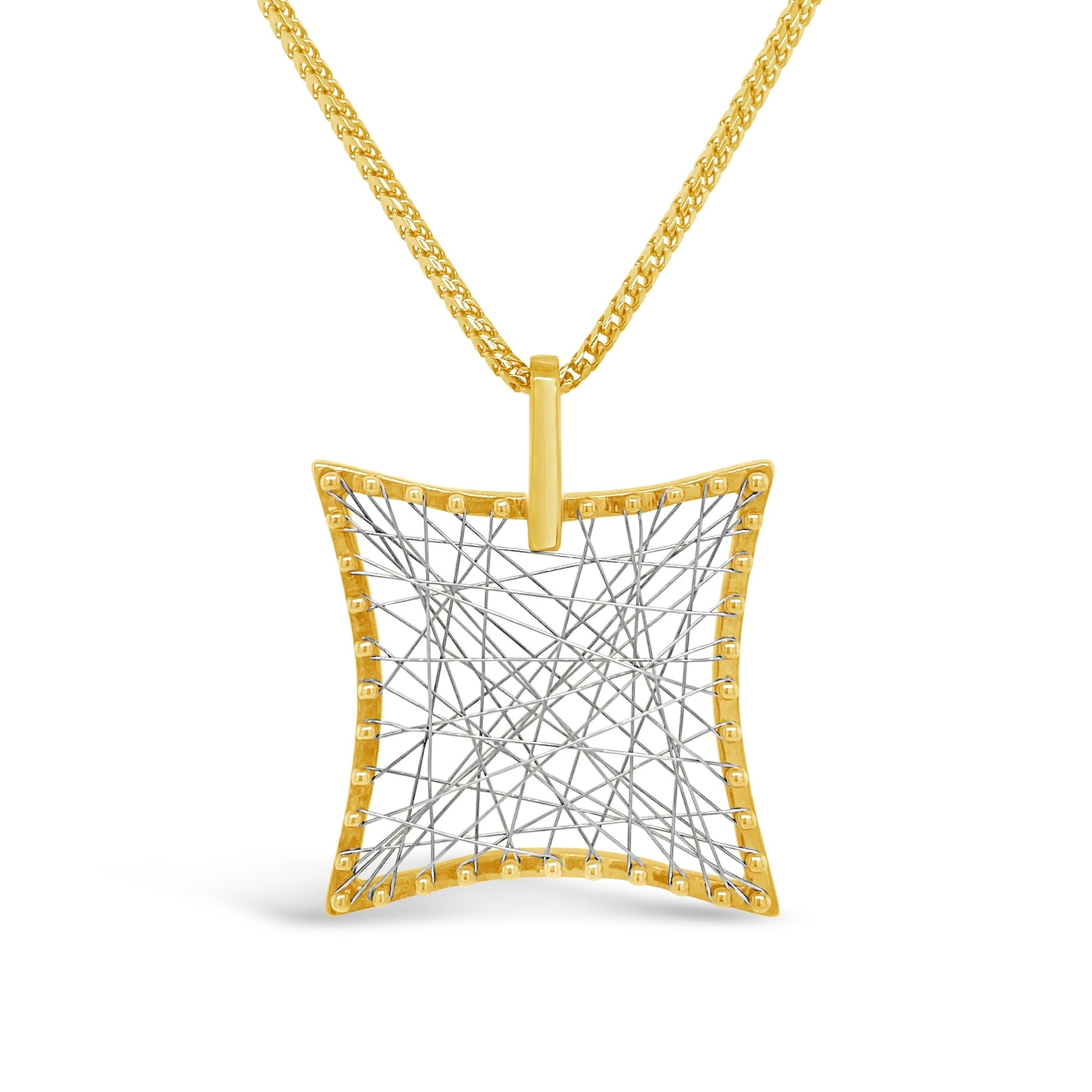 "Square ""Web of Gold"" Pendant"
