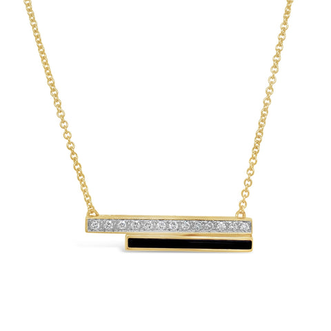 Black Onyx & Diamond Bar Necklace