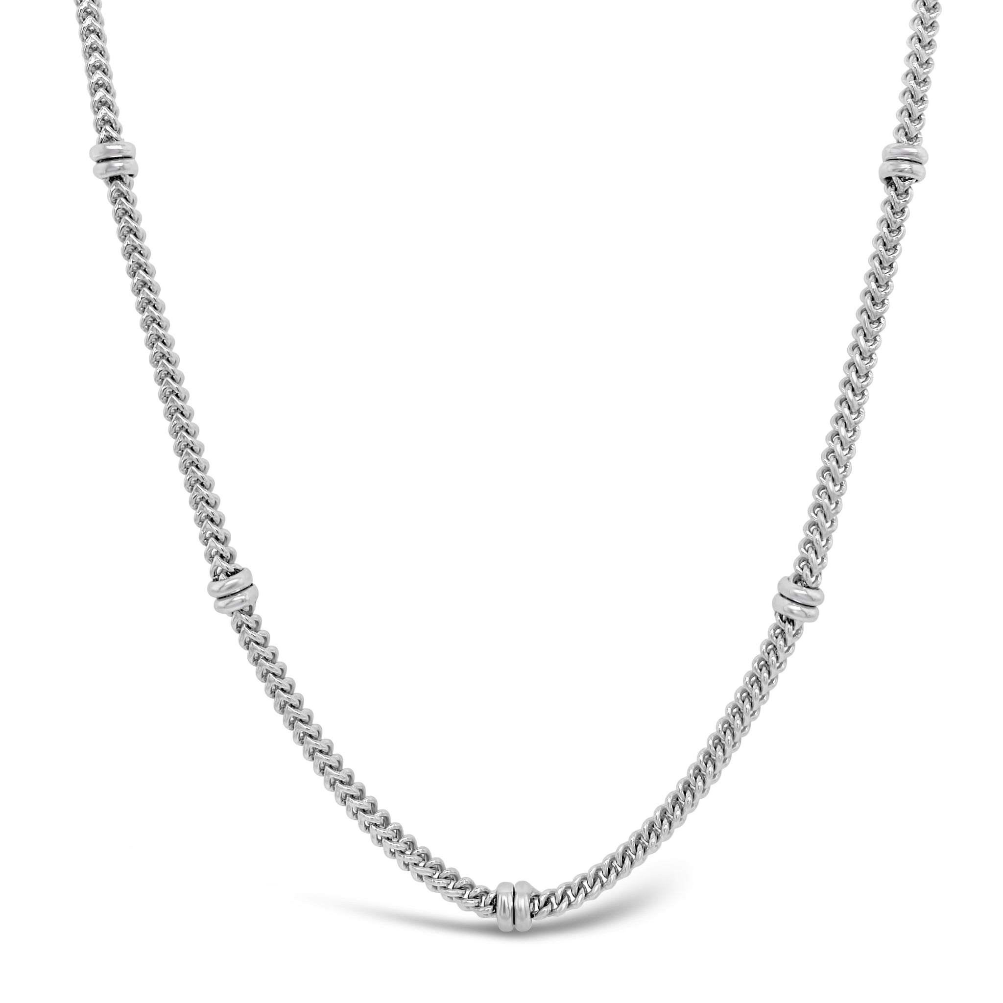 Square Link & Rondelle Chain Necklace