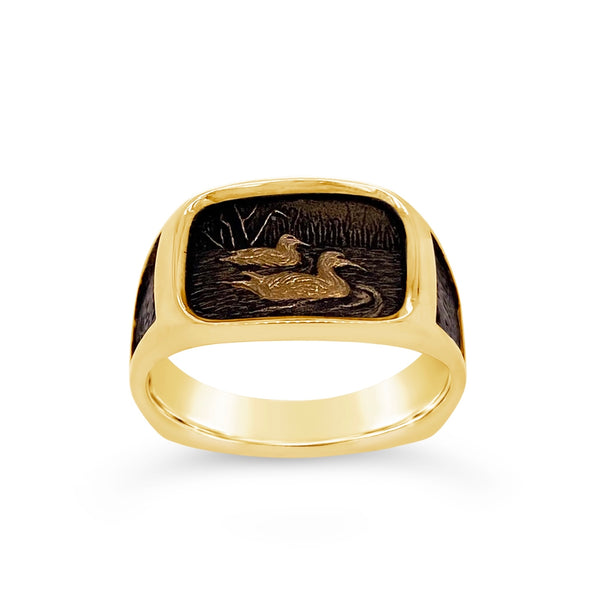 Carved Swimming Ducks Ring