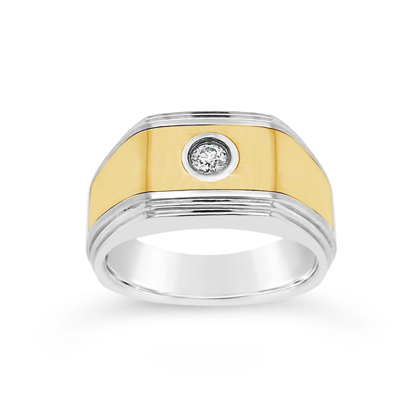 Stainless Steel & Yellow Gold Diamond Ring