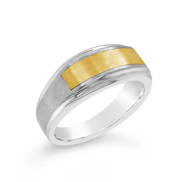 Stainless Steel & Yellow Gold Inlay Ring