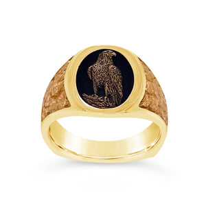 Carved Standing Eagle Ring