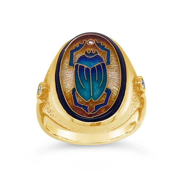 Cloisonné Enamel Scarab & Diamond Ring