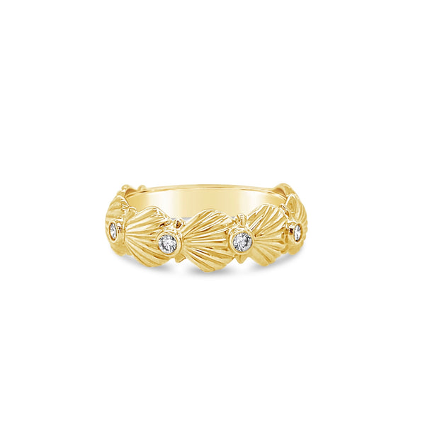 Diamond Scallop Shell Band Ring