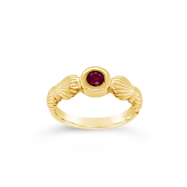 Scallop Shell Birthstone Ring