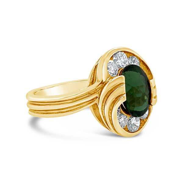 Green Tourmaline & Diamond Cocktail Ring