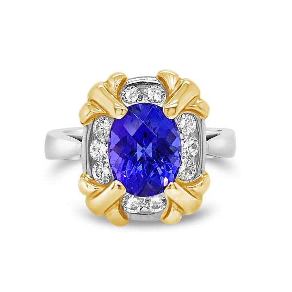 Platinum & 18k Gold Tanzanite & Diamond Ring