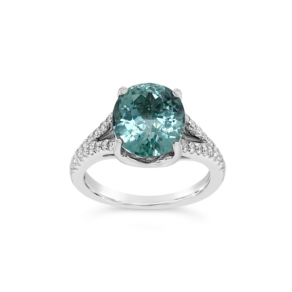 Mint Green Tourmaline & Diamond Ring