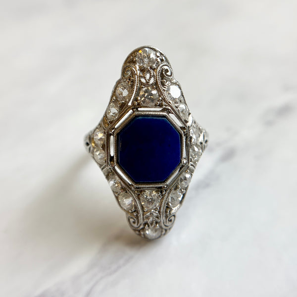 Art Deco Navette Lapis Ring