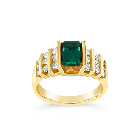 Synthetic Emerald & Diamond Ring