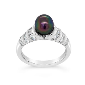 Black Cultured Pearl & Diamond Ring