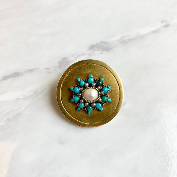 Victorian Turquoise & Pearl Pin