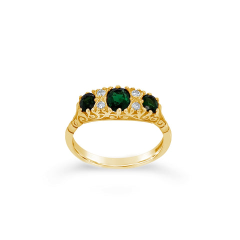 Chrome Tourmaline & Diamond Ring