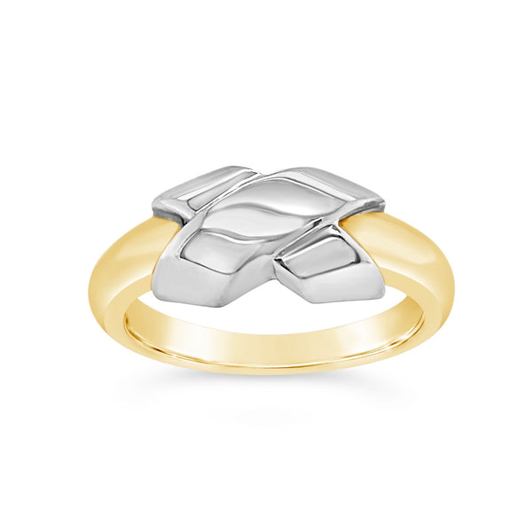 "Two Tone ""X"" Ring"