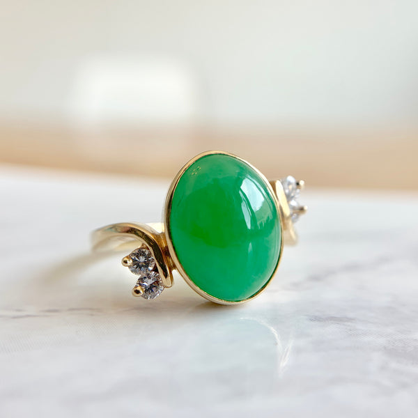 Green Jade & Diamond Bypass Ring