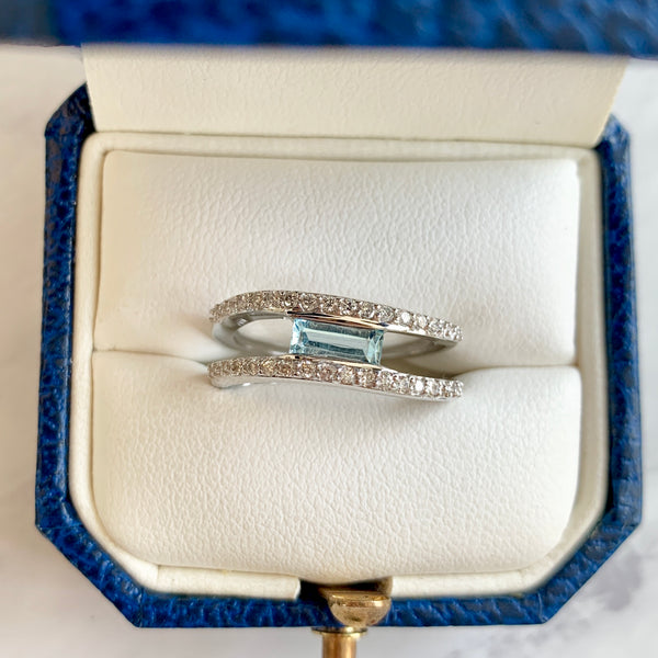 Aquamarine & Diamond Double Band Ring