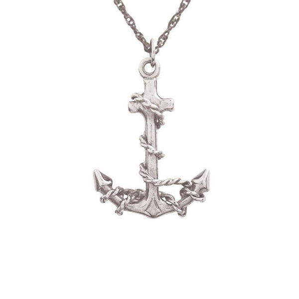 Silver Fouled Anchor Pendant