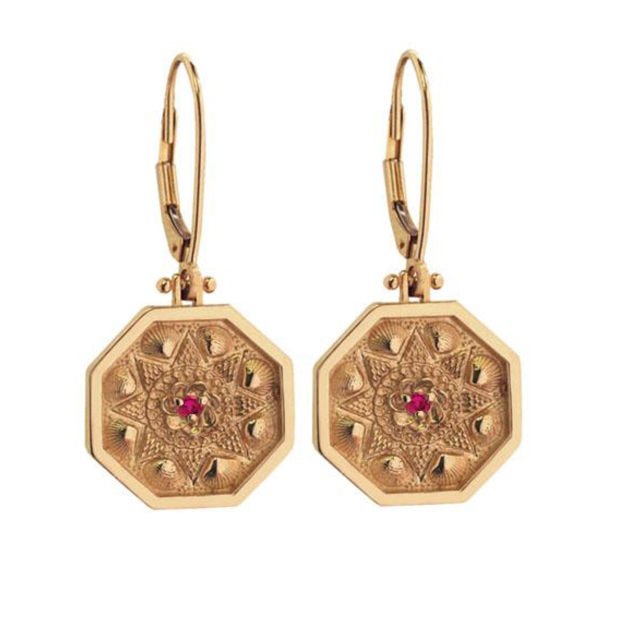 Sailor's Valentine Drop Earrings with Ruby