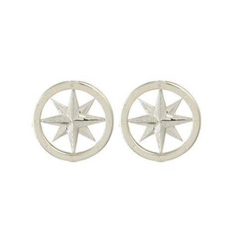 Silver Tiny Compass Earrings