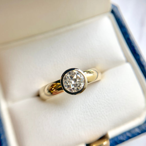 0.81 Carat Bezel-Set Diamond Engagement Ring