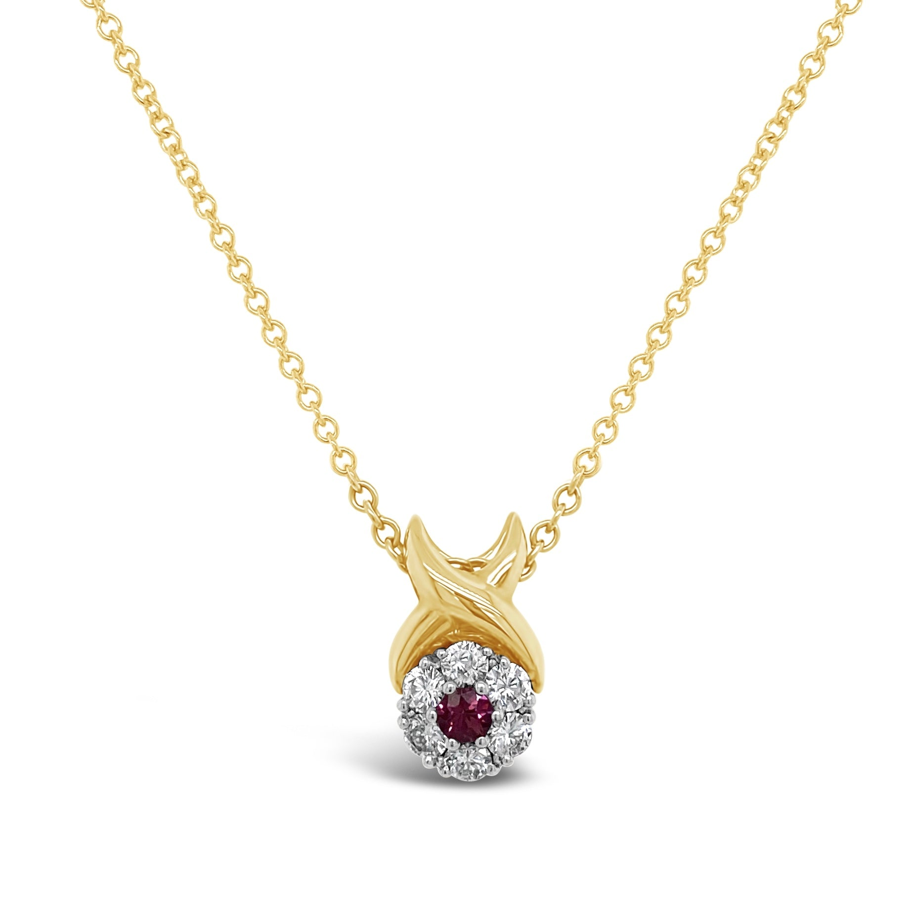 Ruby & Diamond Cluster Pendant