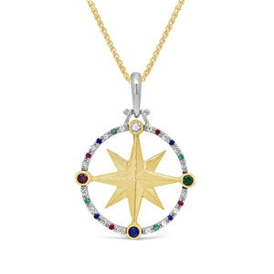 Gemstone & Diamond Compass Rose Pendant