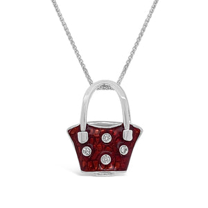 Enamel Diamond Polka Dot Handbag Pendant