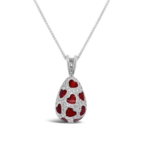 Diamond & Enamel Heart Egg Pendant